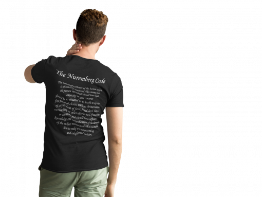 Men's medical freedom t shirt with The Nuremberg Code on the back