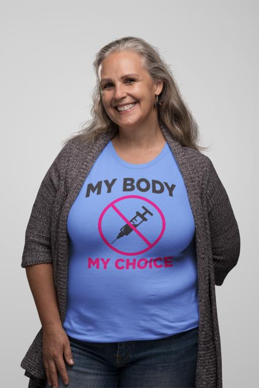 My Body My Choice medical freedom shirt with the Nuremberg Code in Carolina Blue