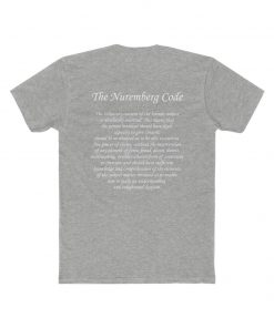 mens medical freedom t shirt in heather gray with the nuremberg code on the back