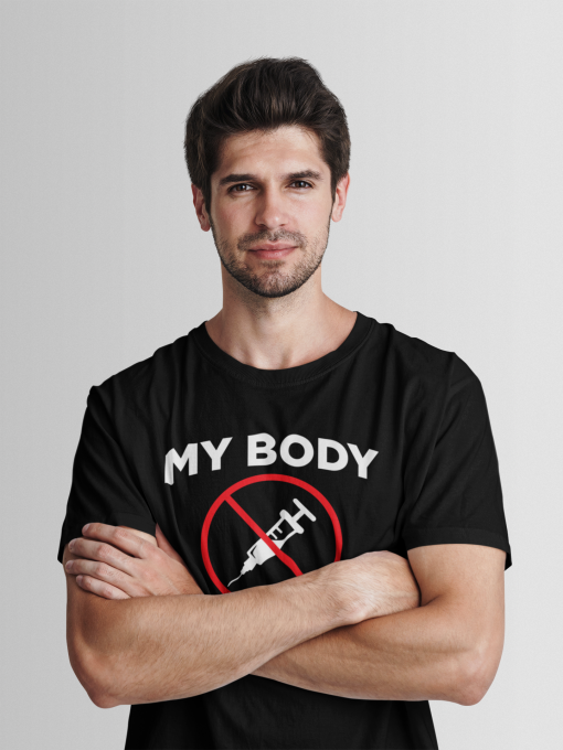 mens medical freedom t shirt in solid black