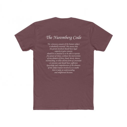 mens medical freedom t shirt maroon with the nuremberg code