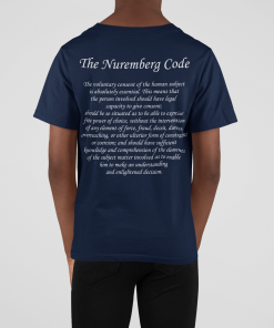 back view of kid's medical freedom t shirt in navy with the nuremberg code
