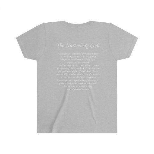 girls medical freedom t shirt in athletic heather nuremberg code