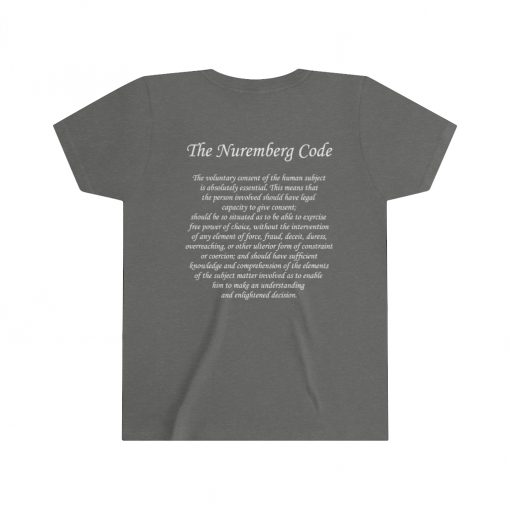 girls medical freedom t shirt in dark heather gray nuremberg code