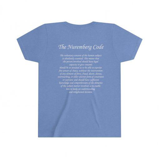 girls medical freedom t shirt in heather columbia blue nuremberg code