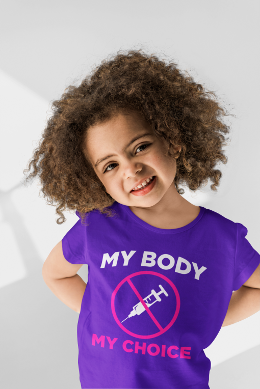 girls medical freedom t shirt in team purple