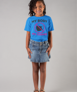 mask choice kids t shirt in cobalt with black letters