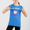 mask choice kid's t shirt with white letters
